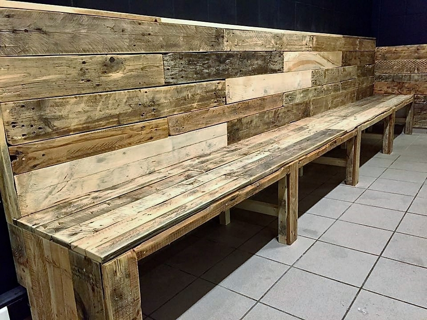 Pallet Wood Seating Arrangement for Bar