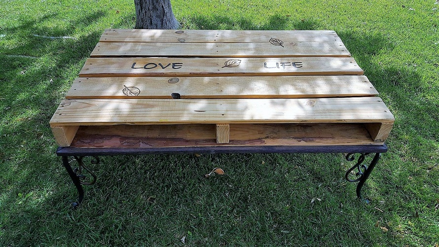 Pallet Coffee Table with Architectural Steel Legs
