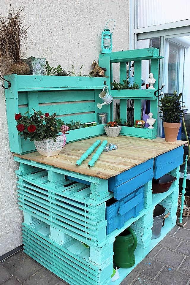 Recycled Pallet Potting Bench Wood Pallet Furniture