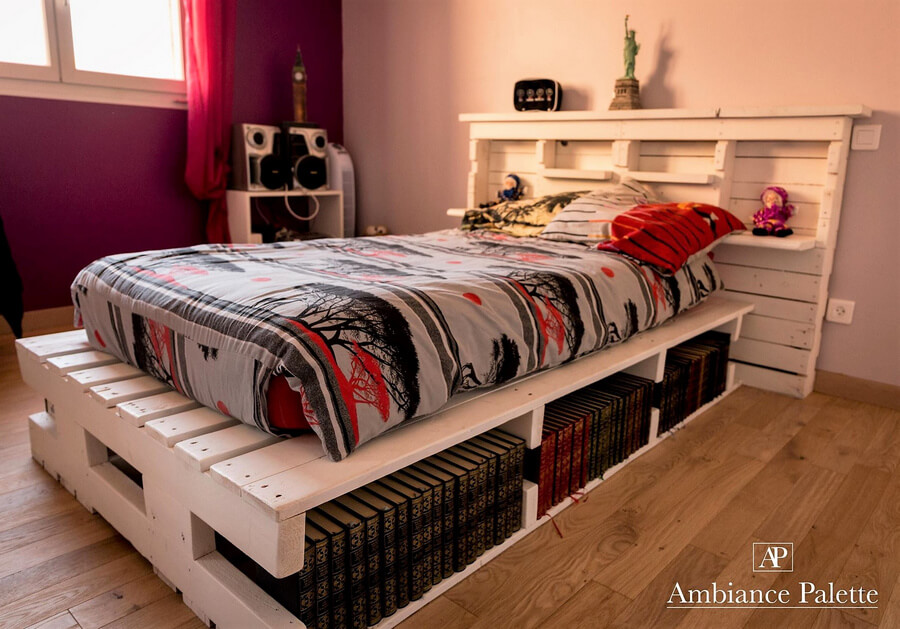 Giant Pallet Bed With Storage Options Wood Pallet Furniture