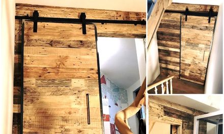 Wood Pallets Wall Art And Sliding Door for Bathroom