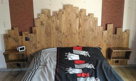 DIY Pallets Wooden Made Bed Headboard