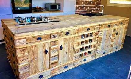 Wooden Pallets Repurposed Kitchen Island