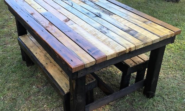Reused Pallet Rustic Table with Benches