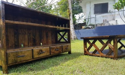 Recycled Pallets Entertainment Center with XL Coffee Table