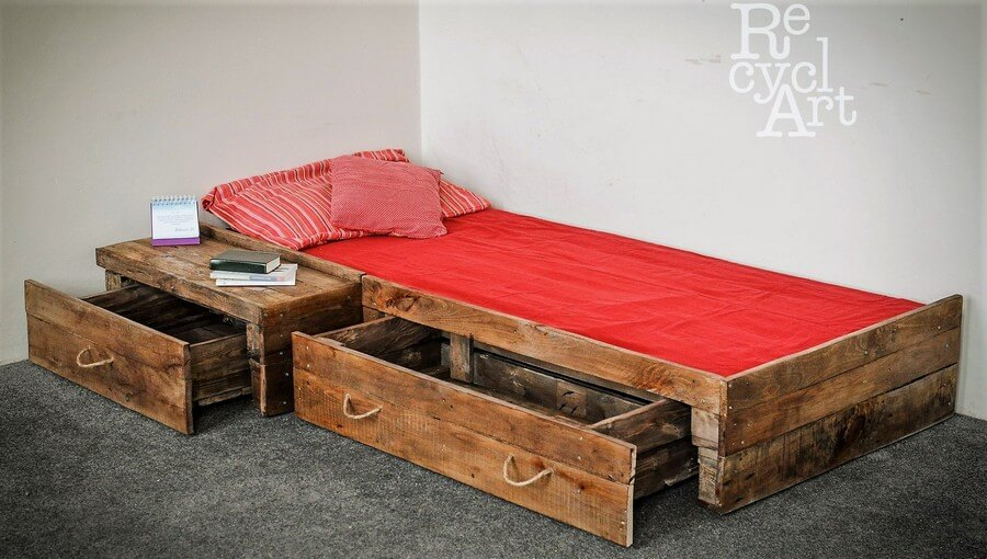 Creative Plan For Wood Pallet Drawers Bed Wood Pallet