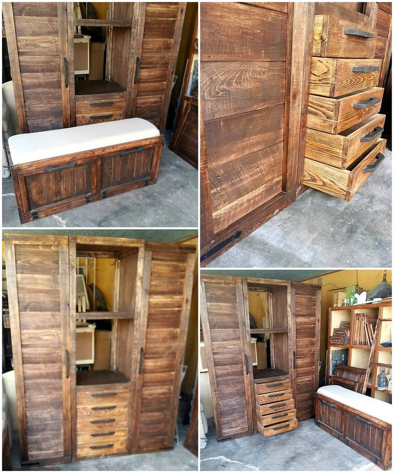 closet made with pallets wood