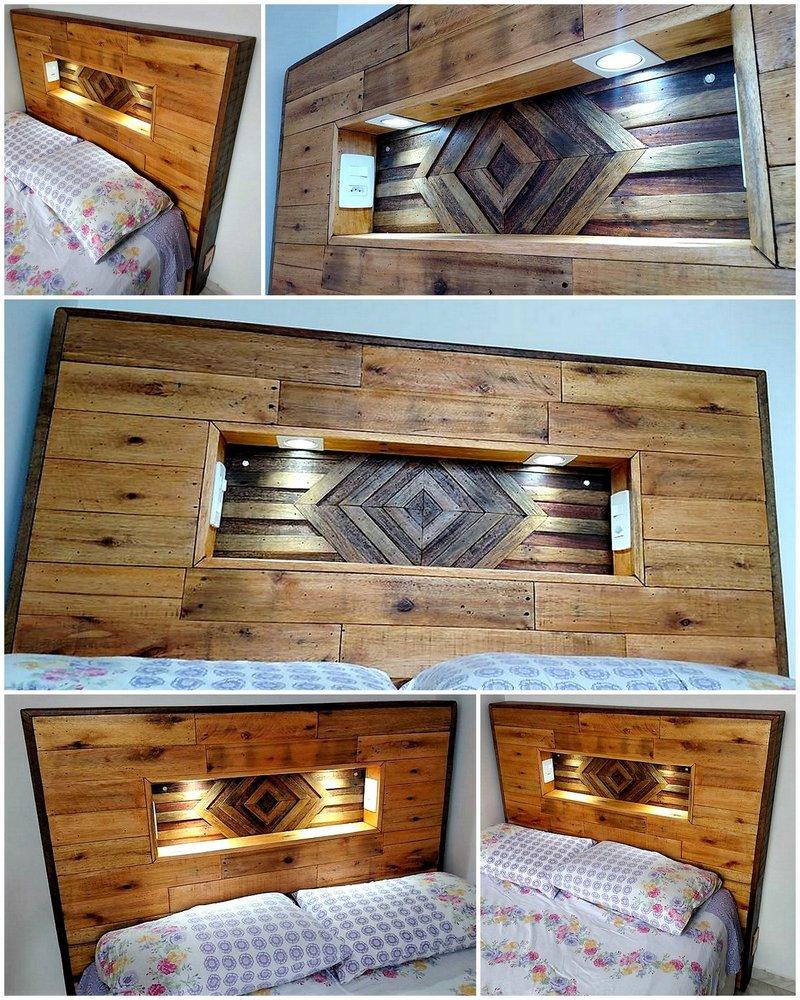 creative wood pallet bed headboard