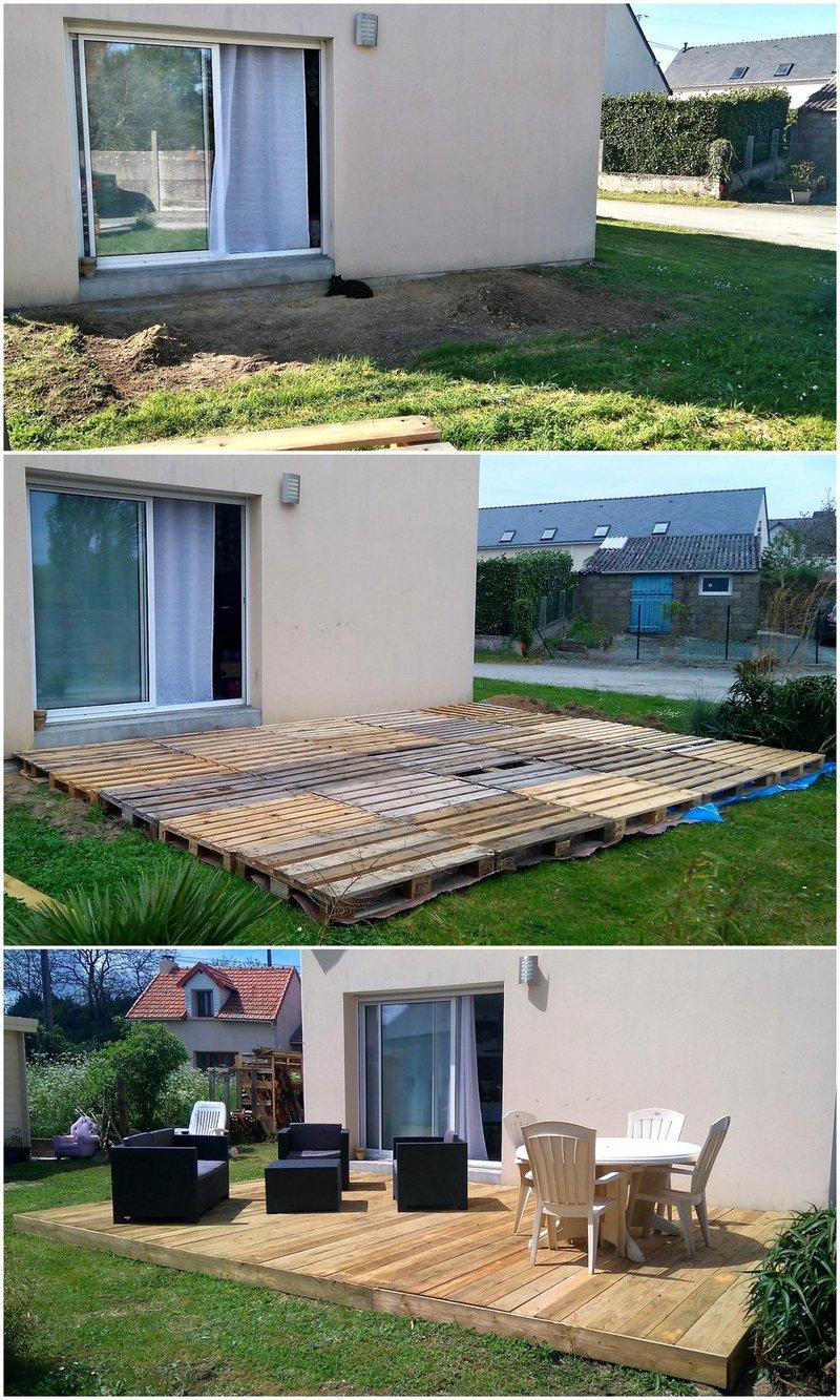 garden deck made with wooden pallets