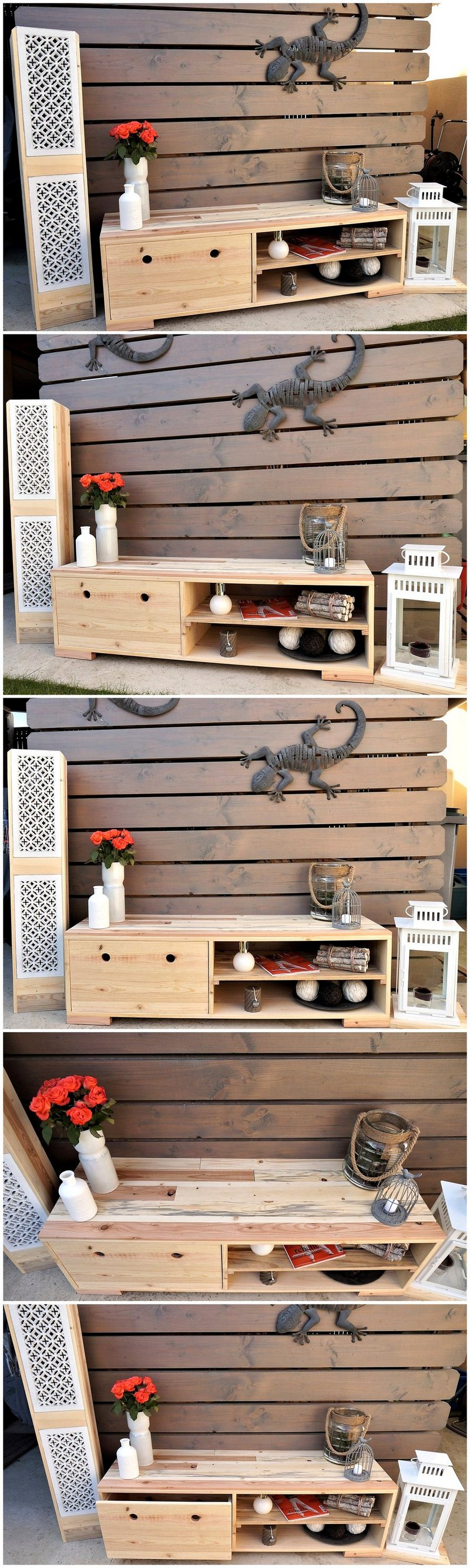 pallet entryway decor table