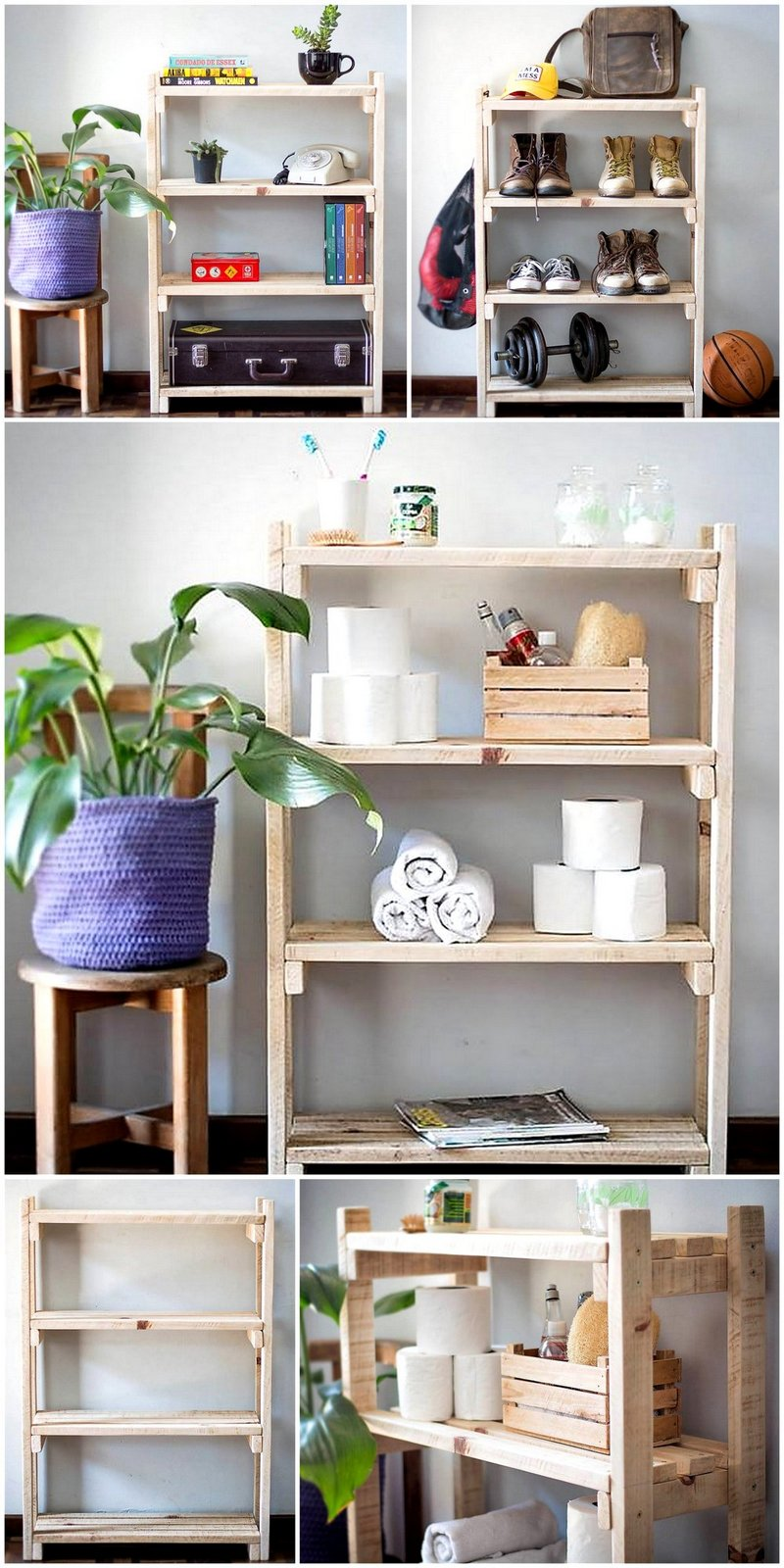 pallet entryway shelving stand