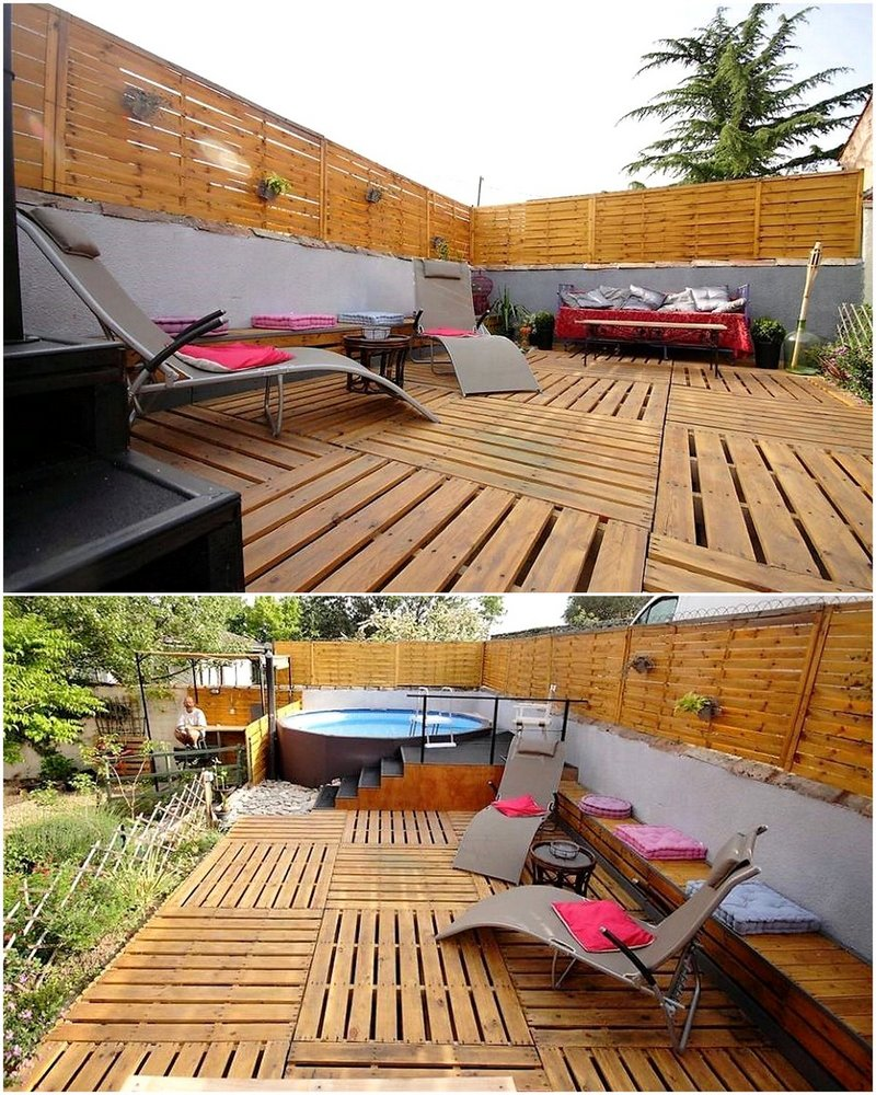 pallet garden deck and fence