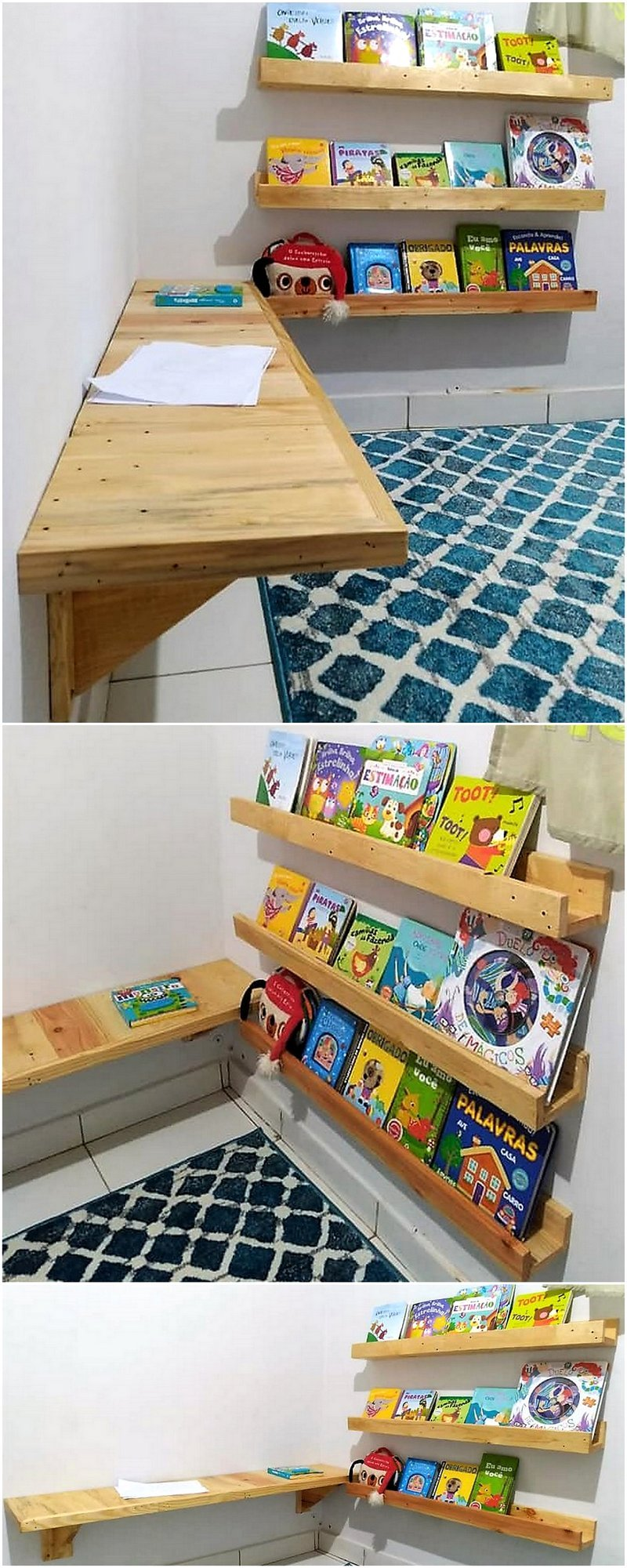 pallet kids bed with wall desk and bookshelf 4