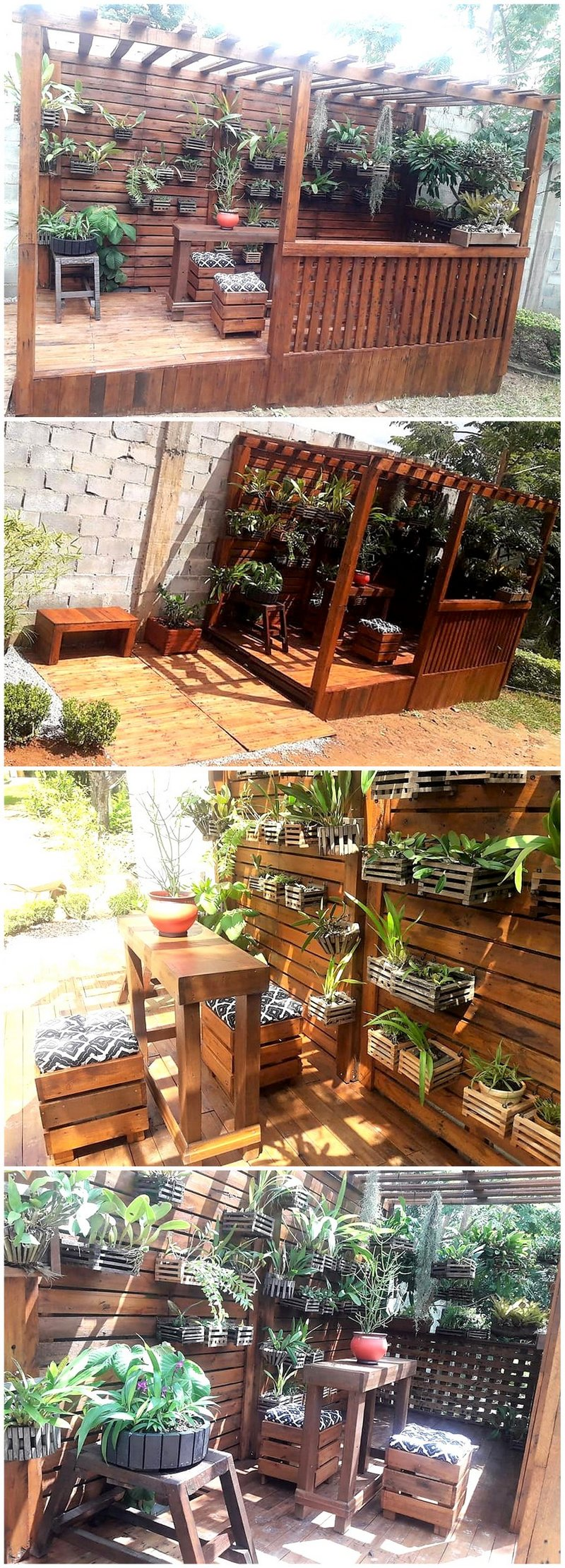 pallet pergola deck with planters