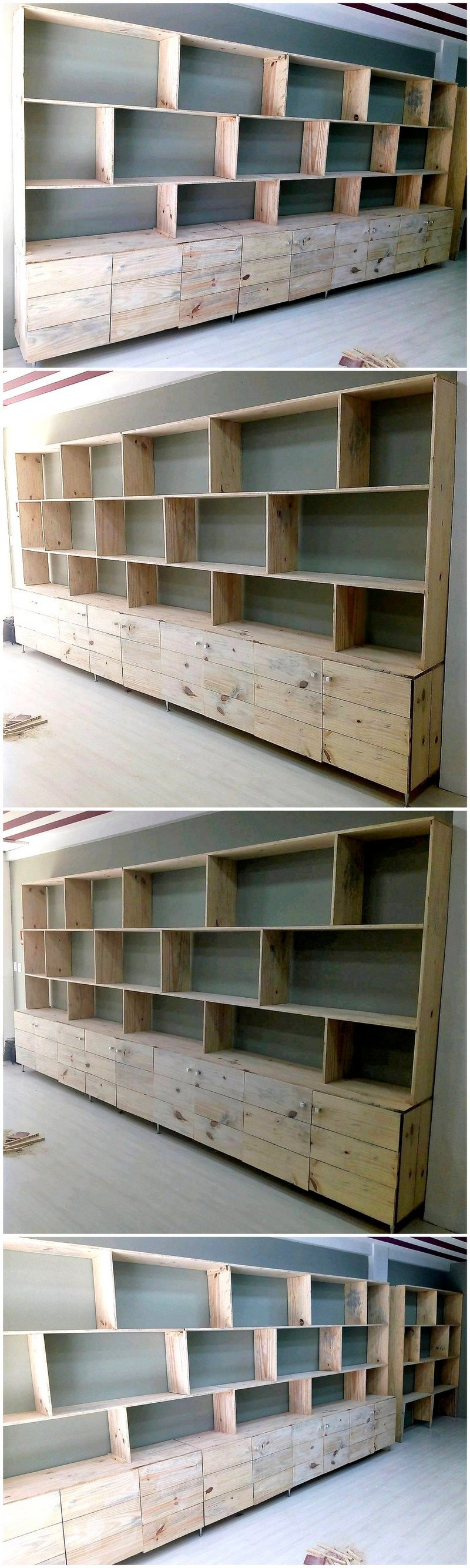 pallet shelves and drawers projects