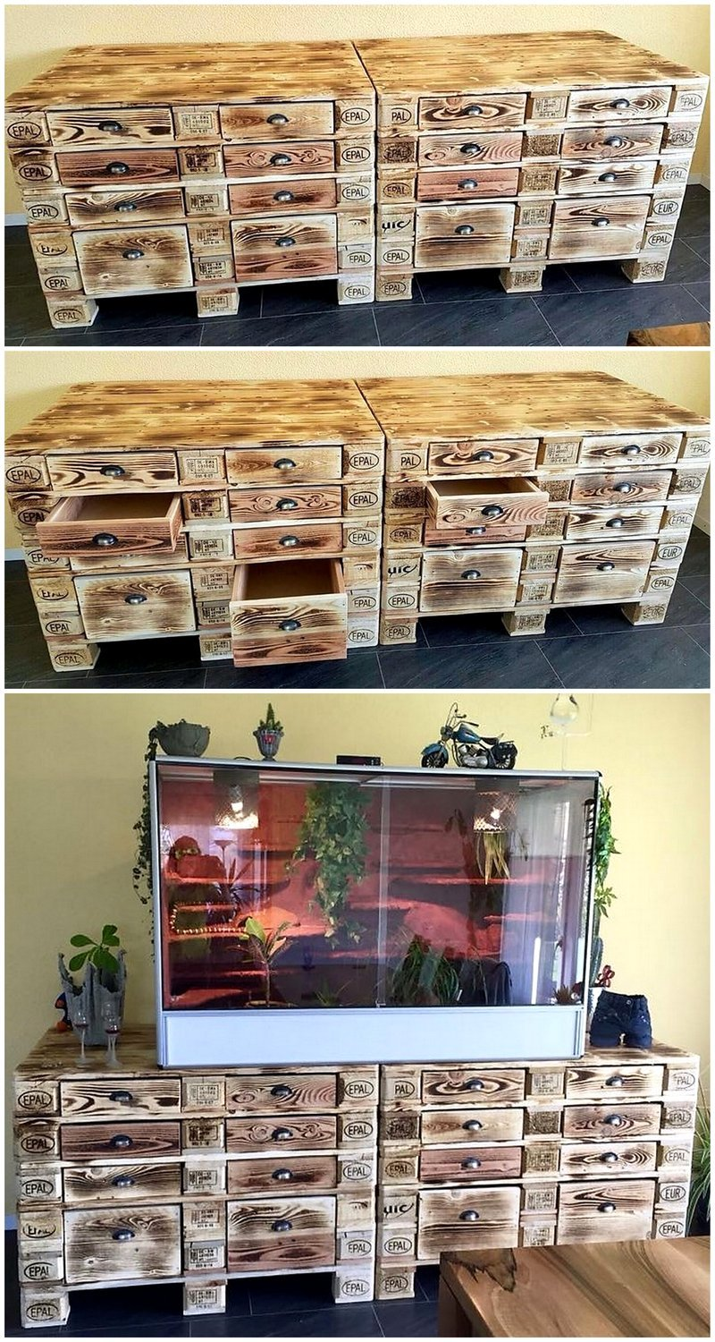 pallet tv stand with plenty of drawers