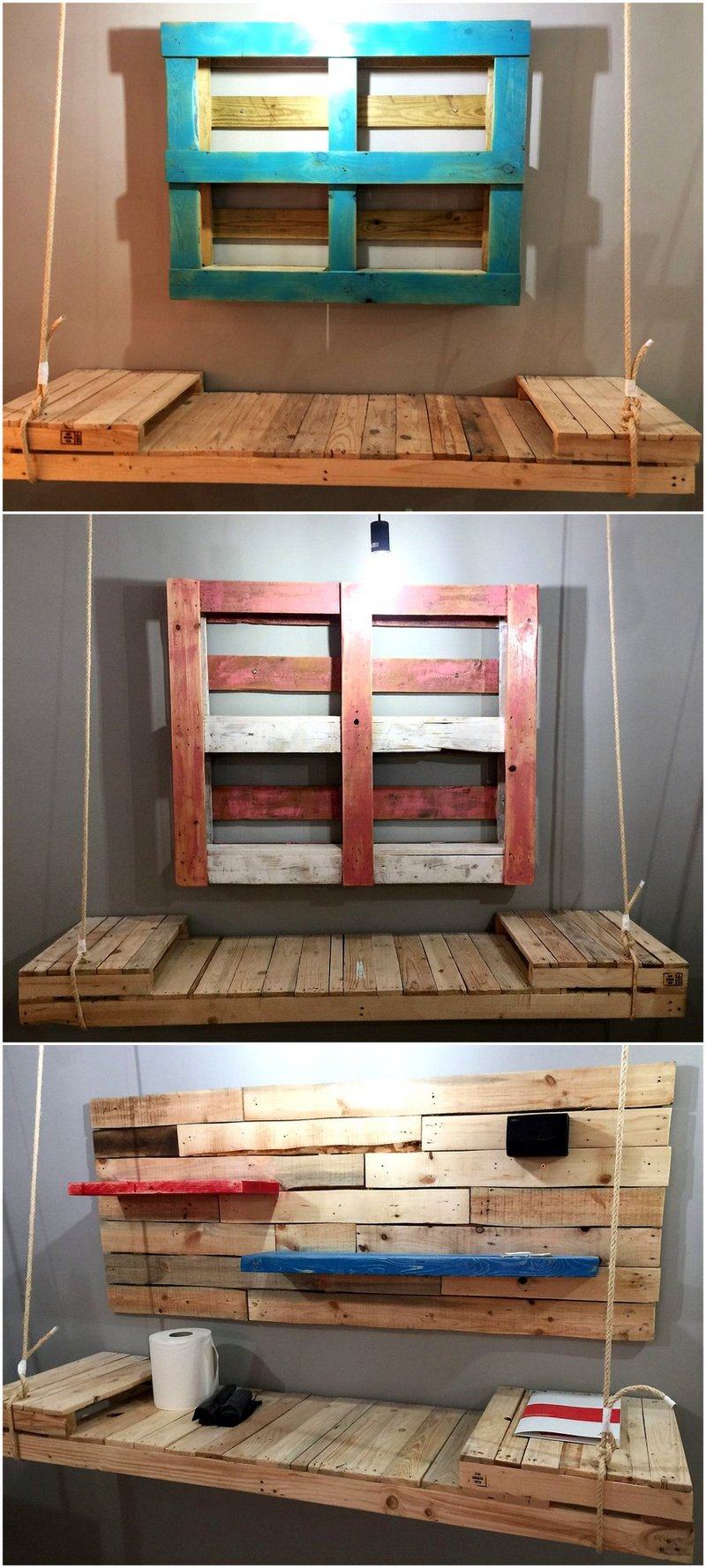 pallet wall shelf and hanging table
