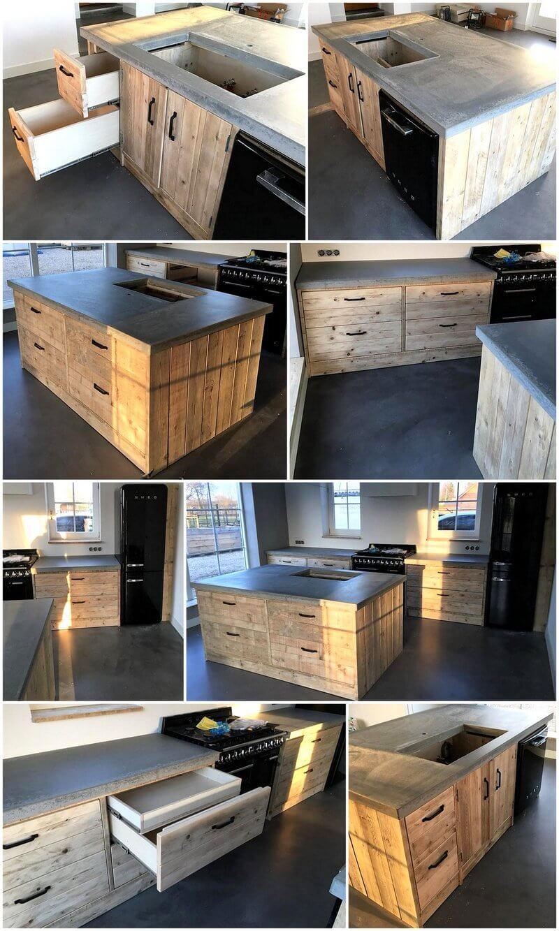 pallet wooden kitchen plan