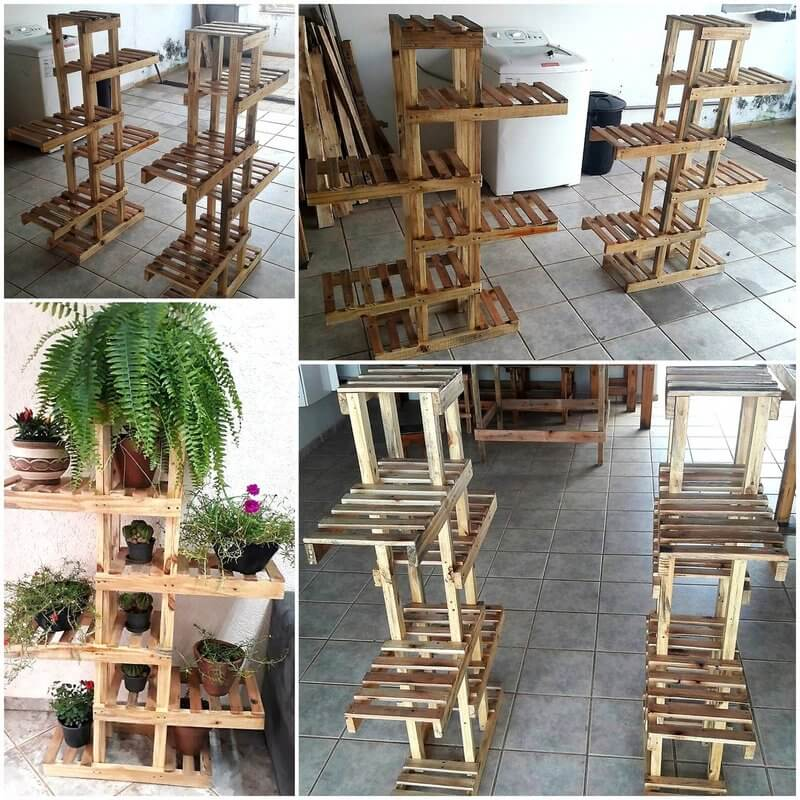 pallets wooden pots stand