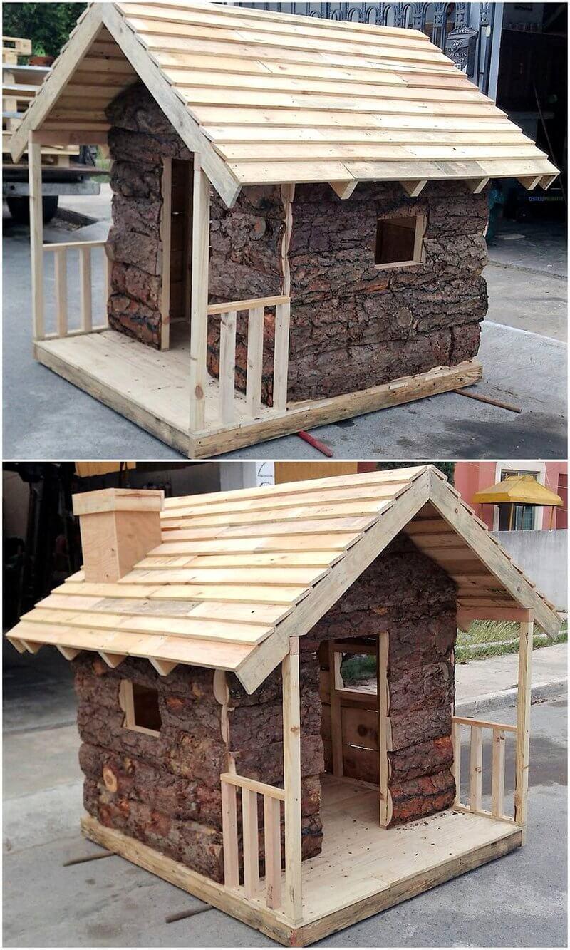 reclaimed pallets kids play cabin