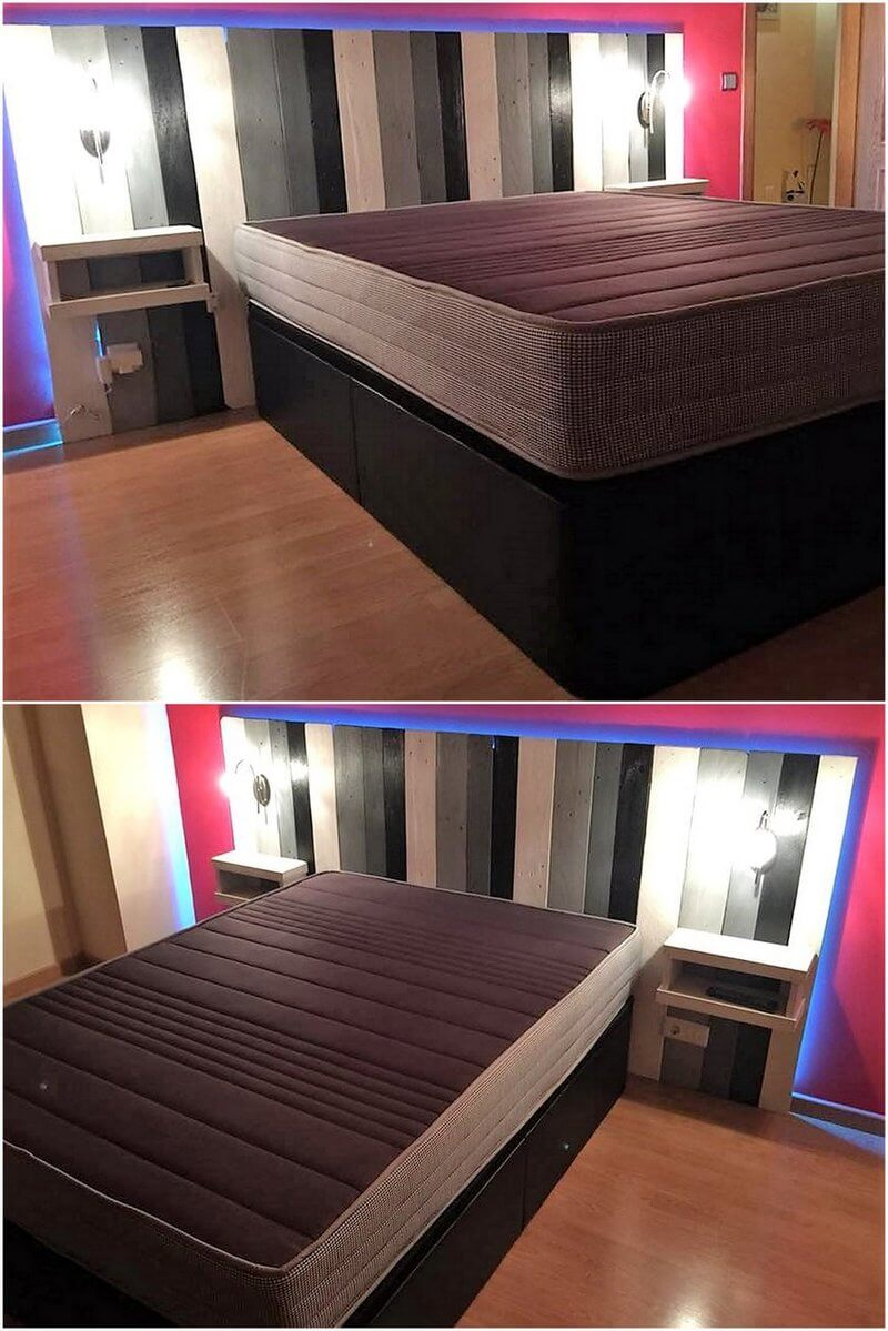 recycled pallet bed headboard plan