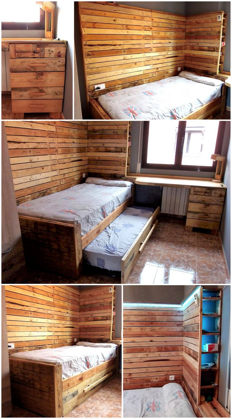 recycled pallets wooden bed and headboard art