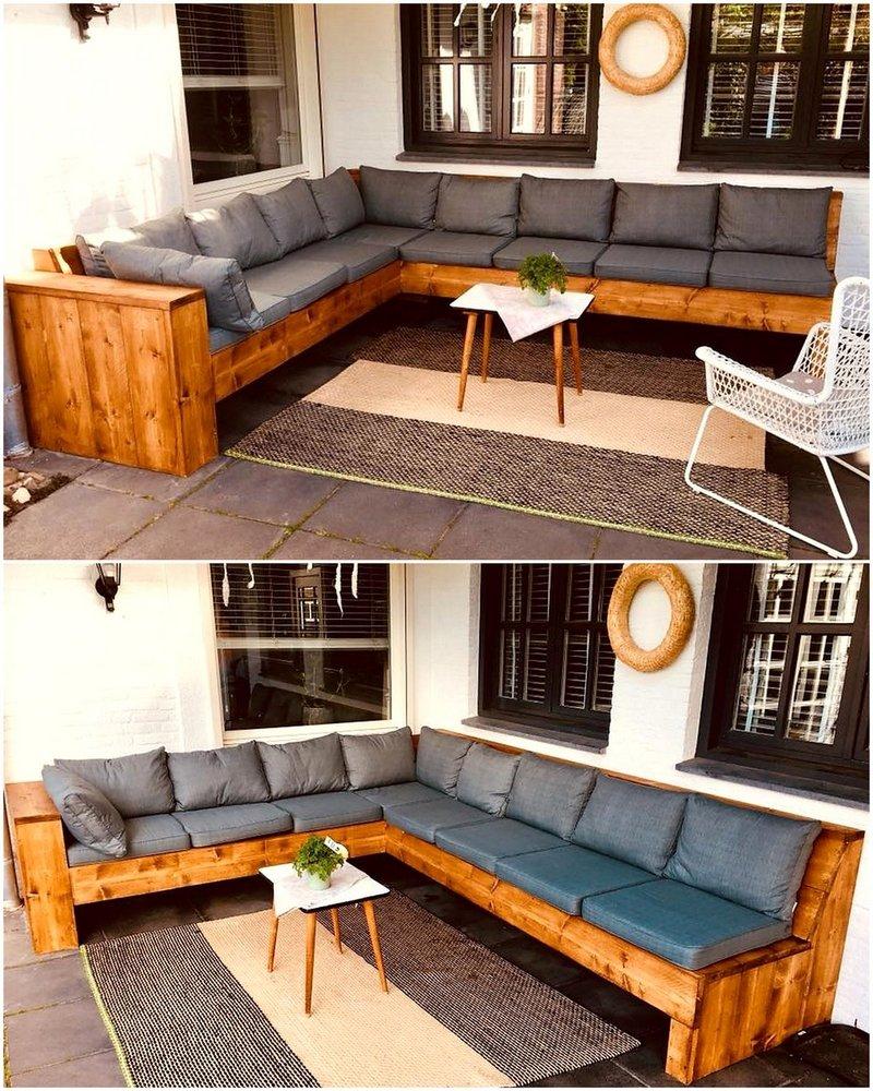 repurposed pallets corner sofa