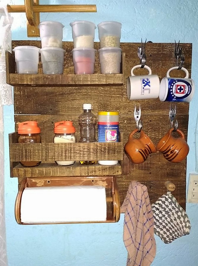 wood pallet rustic kitchen shelf