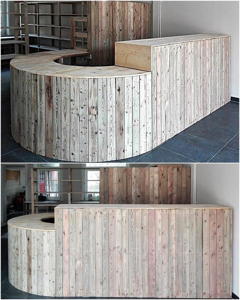 wooden pallet store counter plan