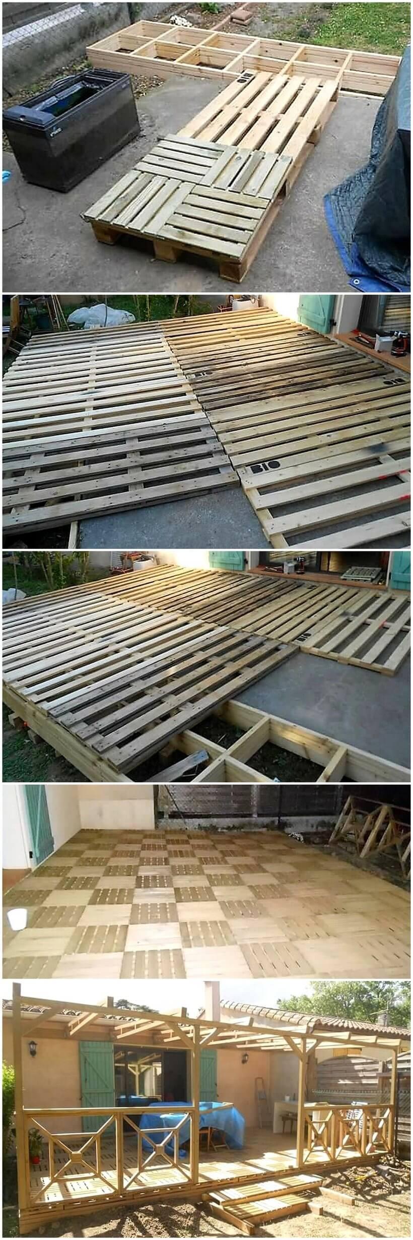 DIY pallets wooden pergola deck