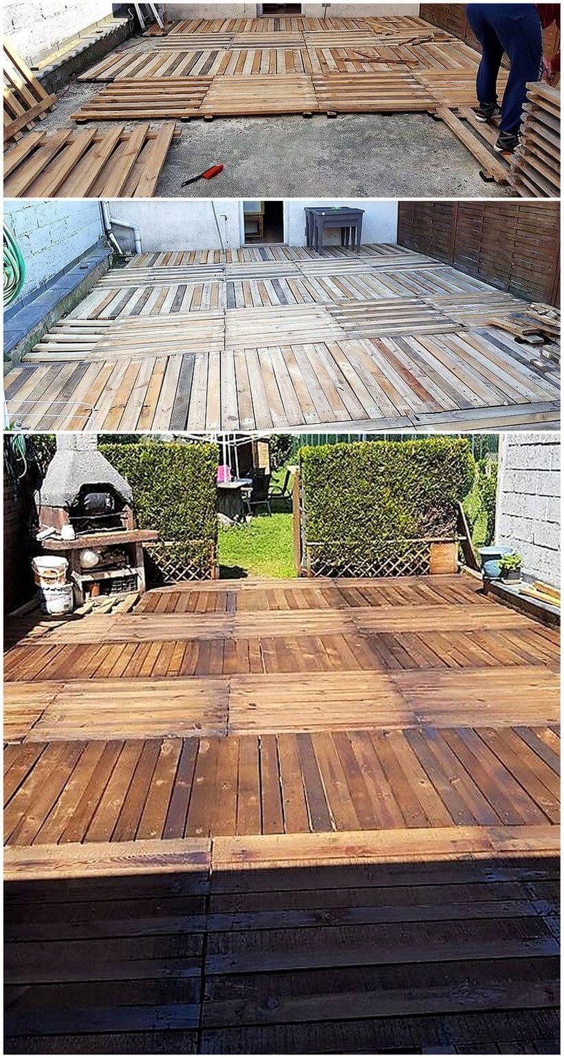 DIY pallets wooden terrace plan