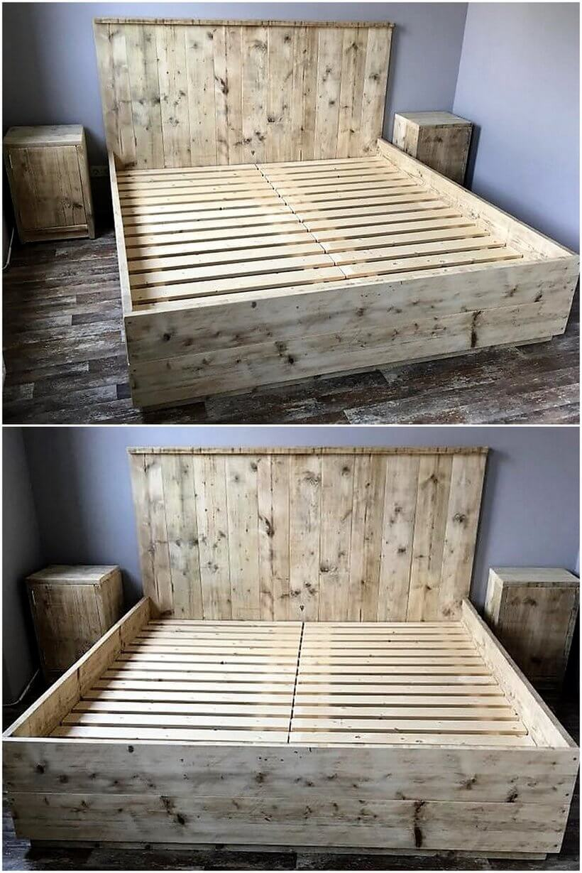 giant pallet bed with side tables