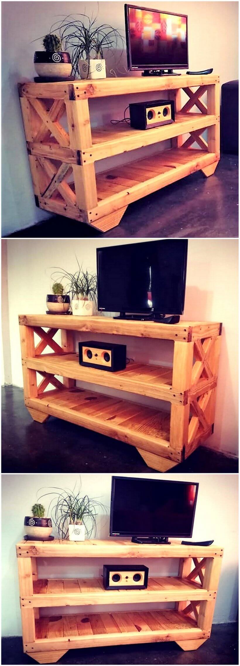 old pallets media console