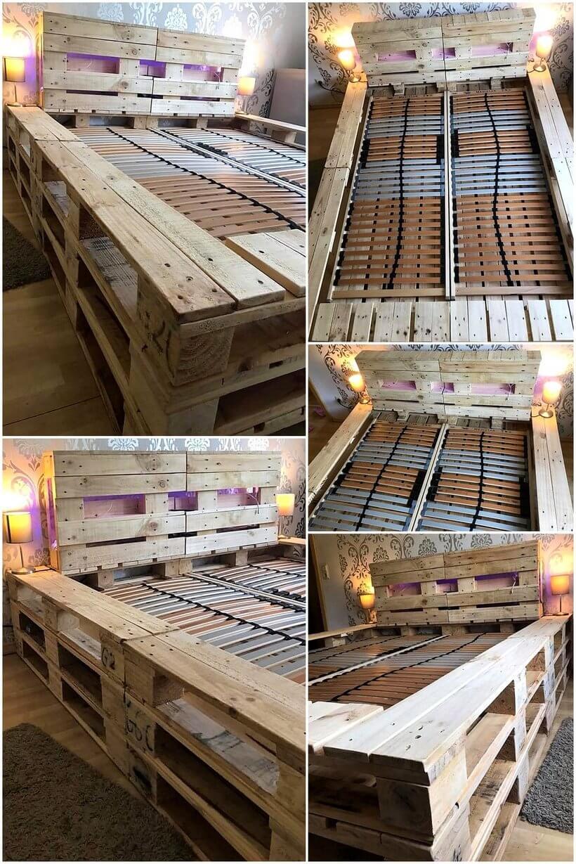 pallet wooden bed frame