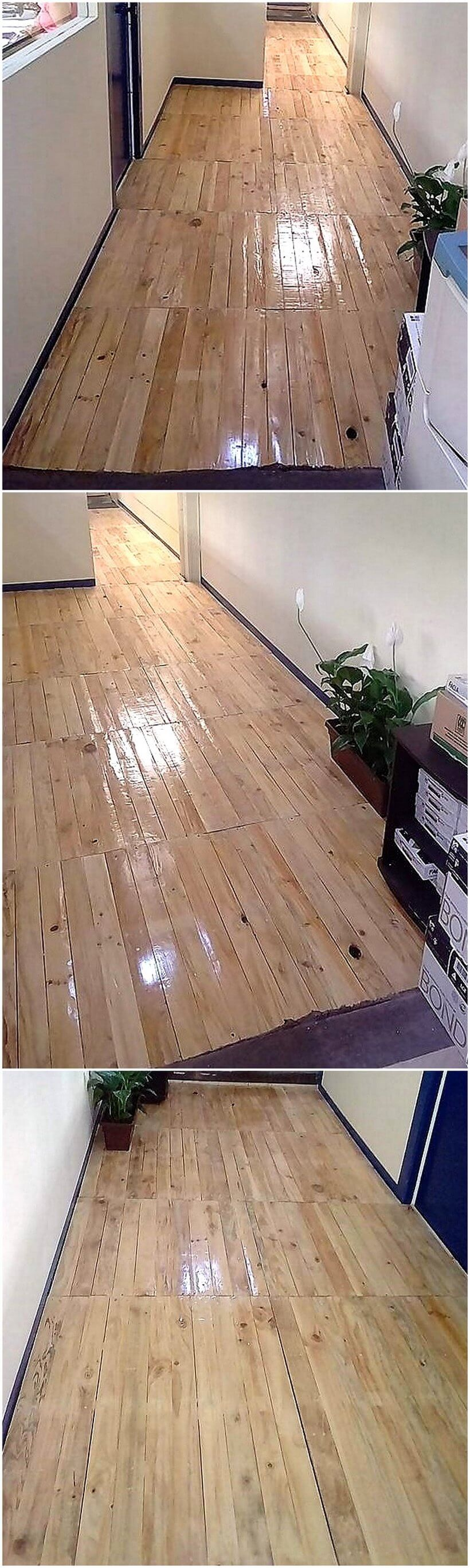 pallets wooden flooring idea