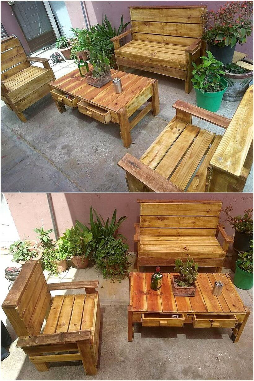 pallets wooden rustic furniture for outdoors