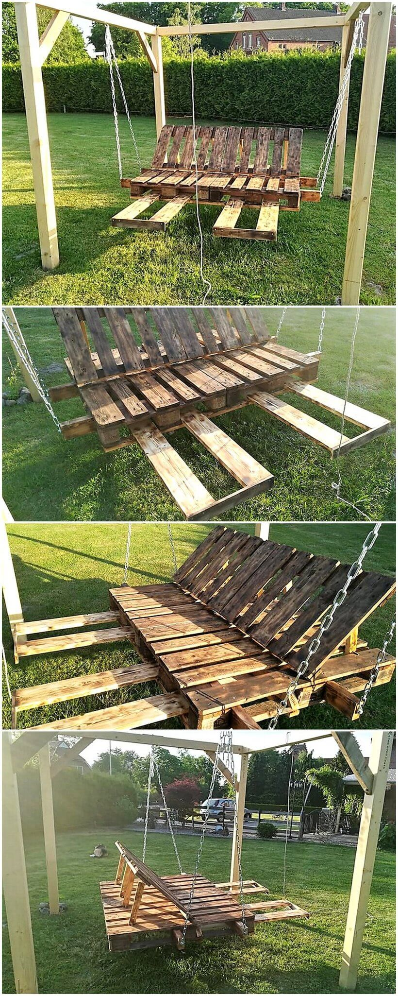 recycled pallets made garden swing