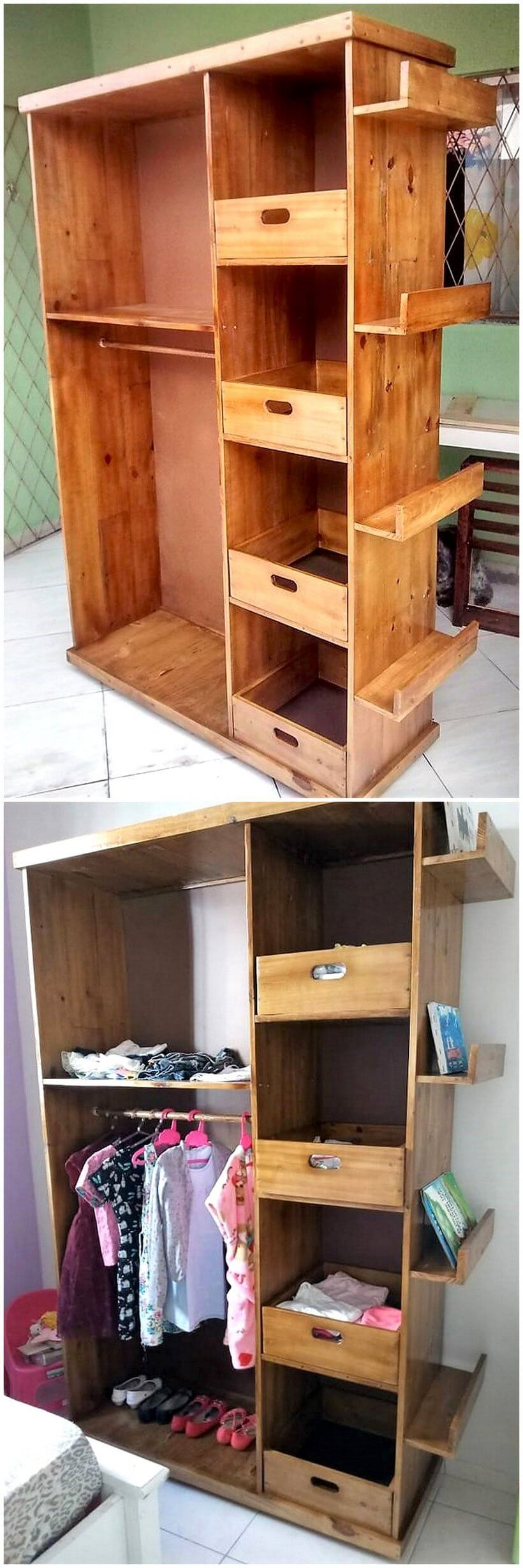 repurposed pallet closet project
