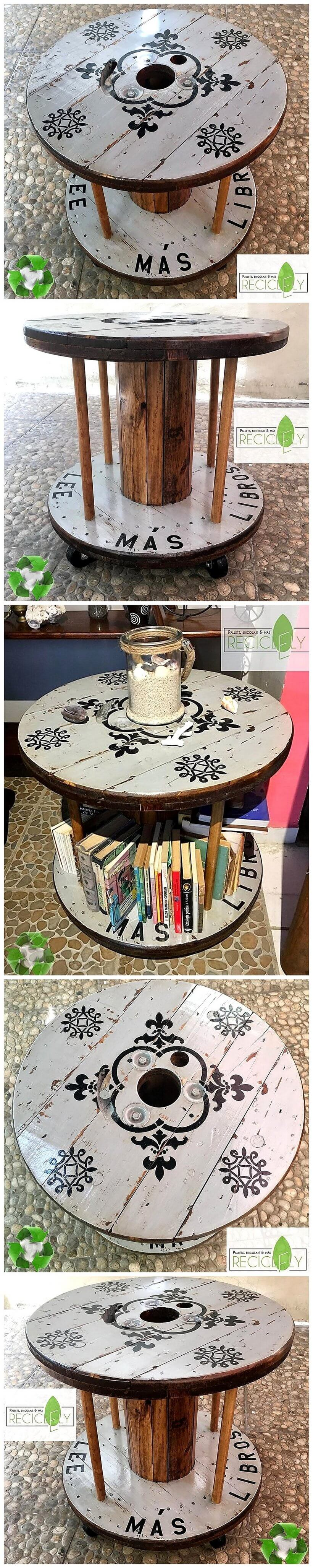 repurposed pallets cable reel table on wheels