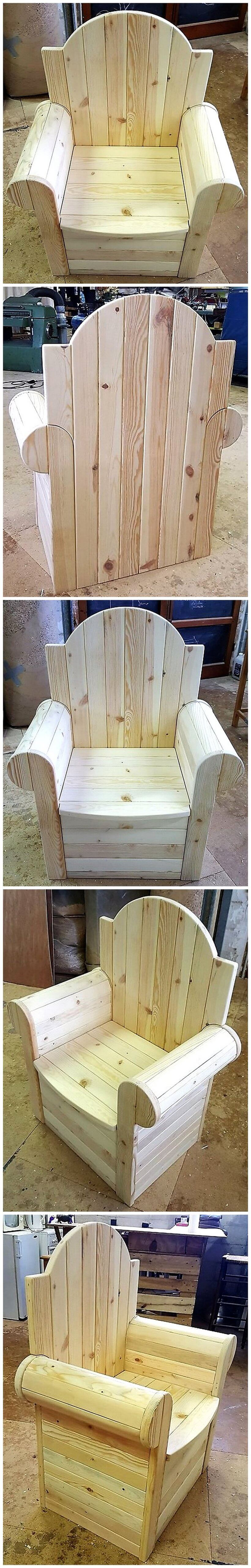 repurposed wooden pallets chair plan