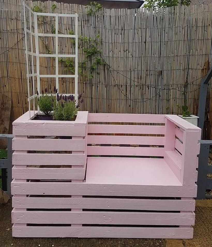 wood pallet garden planter bench