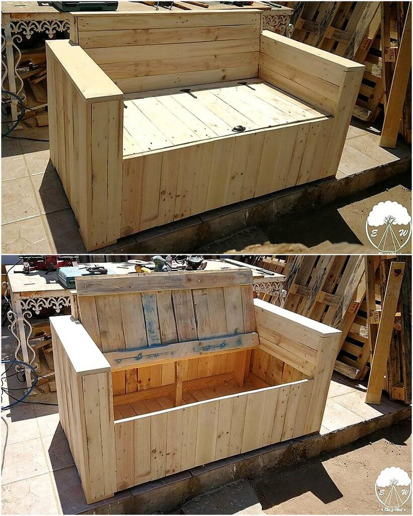 wood pallet sofa with storage