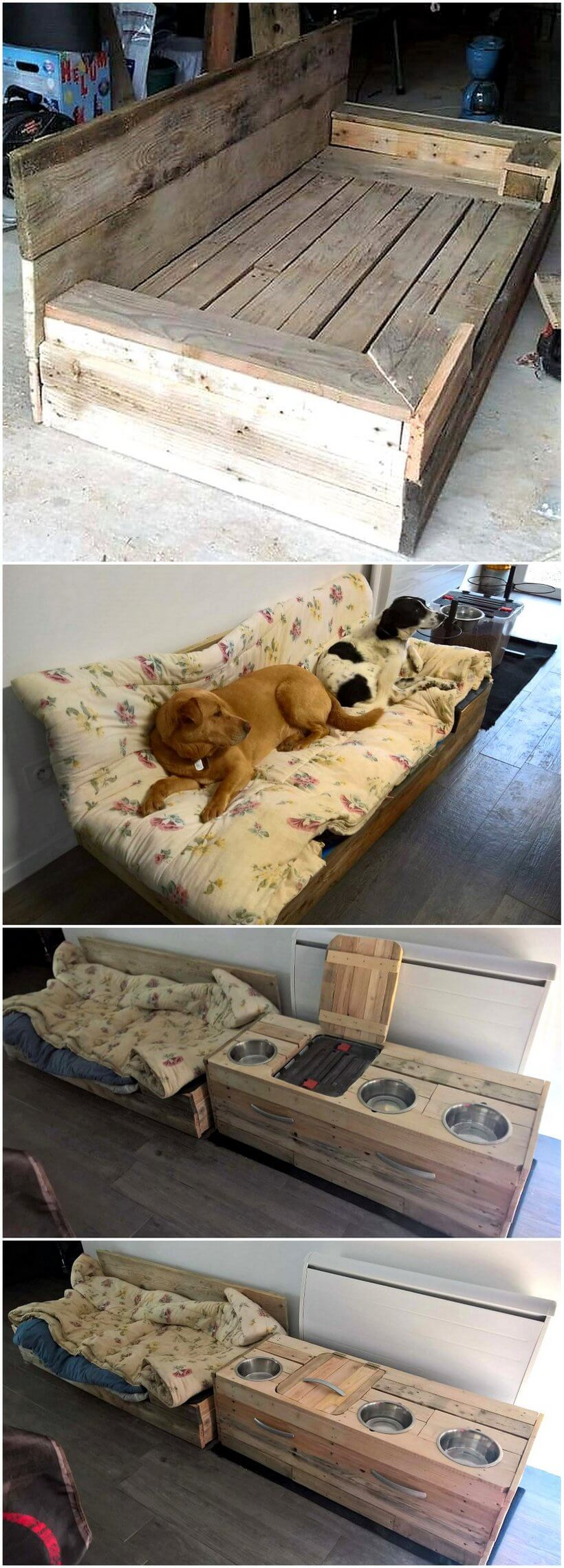 wooden pallet dog bed and food bowls