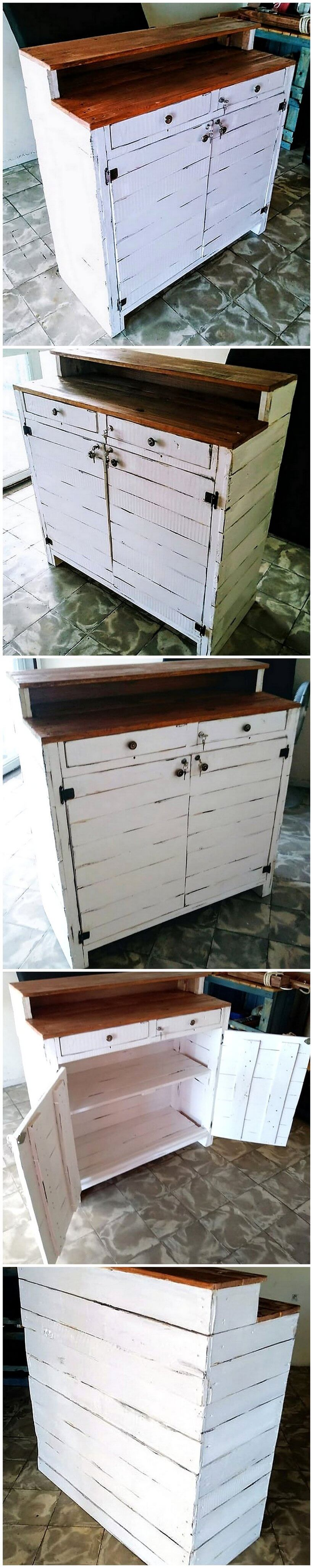 wooden pallet reception or bar counter