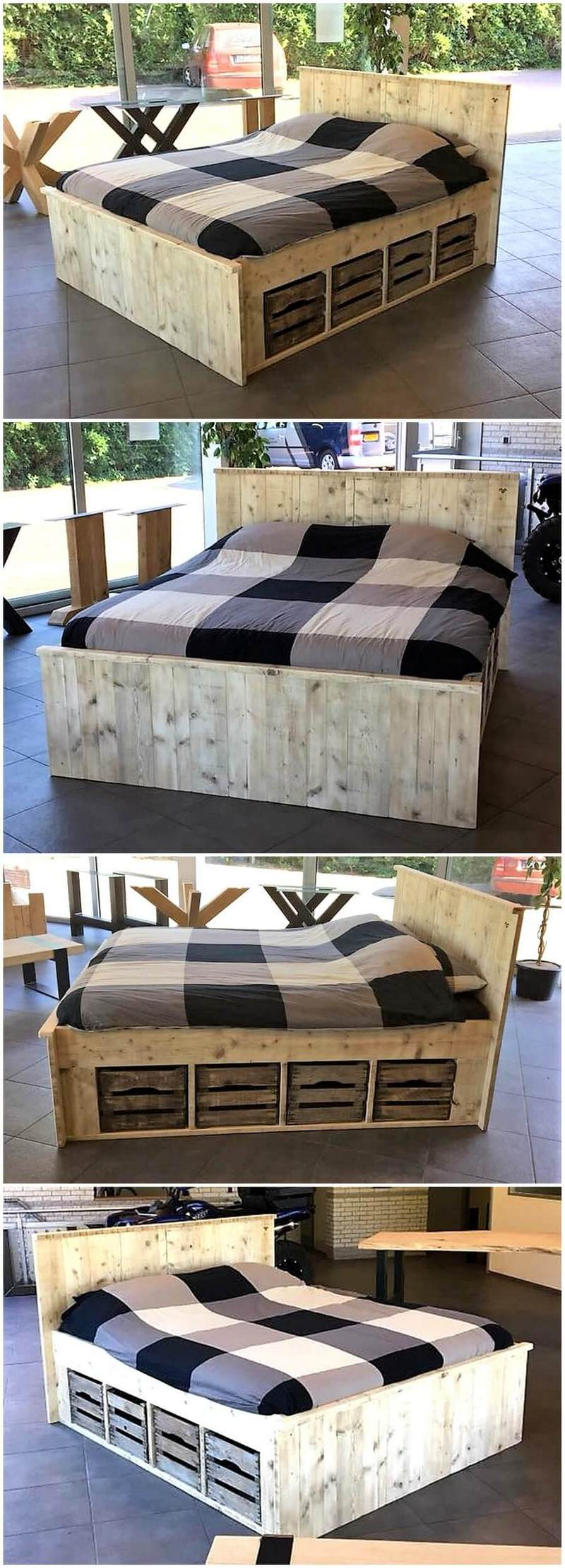 giant pallet wooden bed
